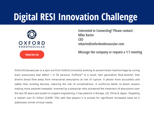 Oxford Endovascular is chosen as a finalist in the RESI Innovation challenge!